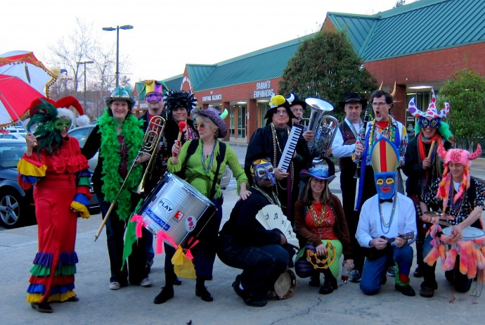 The first Mardi Gras for the newly formed Bulltown Strutters, March 8th, 2011  outside the former Papa Mojo's Restaurant